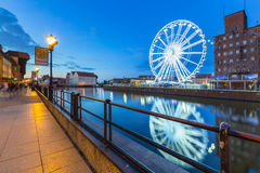 Ferris wheel in the city centre of Gdansk at night Royalty Free Stock Image