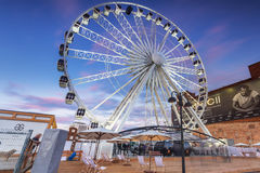 Ferris wheel in the city centre of Gdansk at night Stock Image