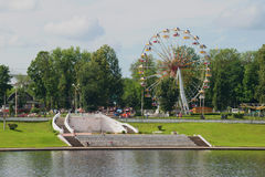 Ferris wheel in the city park on the embankment of the Volga river. Tver stock photography
