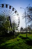 Ferris wheel in a city park. Kremenchug, Ukraine. Ferris wheel in city park. Kremenchug, Ukraine Stock Photos