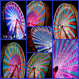 Ferris Wheel Collage Time Lapse. A collection of the same ferris wheel taken with Time Lapse photography to show off some of the different patterns that they Royalty Free Stock Images