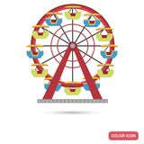 Ferris wheel color flat icon. For web and mobile design Stock Photography