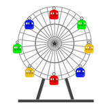 Ferris wheel. Colorful ferris wheel  isolated on white, amusement park, carousel, sky,up Royalty Free Stock Image