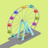 Ferris wheel isometric vector illustration. Ferris wheel colorful minimalistic isometric style vector illustration Stock Image