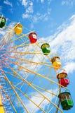 Ferris wheel. Colourful ferris wheel on blue sky Royalty Free Stock Image