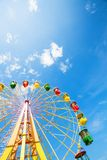 Ferris wheel. Colourful ferris wheel on blue sky Stock Images
