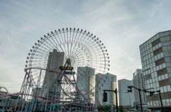 Ferris wheel and commercial buildings in Yokohama Royalty Free Stock Image