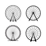 Ferris Wheel de parc d'attractions, silhouette de vecteur Photographie stock libre de droits