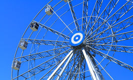 Ferris wheel. Detail of a ferris wheel on blue sky background Royalty Free Stock Images