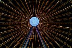 Ferris wheel detail by night. Close up ferris wheel light detail by night royalty free stock image