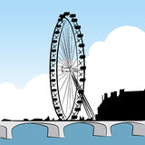 Ferris Wheel Drawing. An image of a ferris wheel drawing set Royalty Free Stock Photo