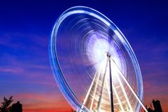 Ferris Wheel in een Asiatique Bangkok Thailand, schemering, zonsondergang stock fotografie