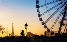 The ferris wheel and the Eiffel Tower in Paris Royalty Free Stock Photography