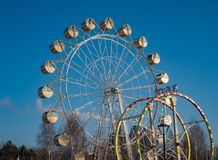 Ferris wheel on the embankment of the Ob River in Novosibirsk, Russia royalty free stock photography