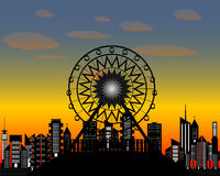 The ferris wheel in the evening time Stock Photo