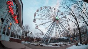 Ferris wheel at evening time, time lapse stock video