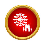 Ferris wheel and family icon, simple style. Ferris wheel and family icon in simple style in red circle. Entertainment symbol Royalty Free Stock Image