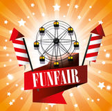 Ferris wheel festival funfair fireworks. Illustration eps 10 Royalty Free Stock Images