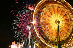 Ferris Wheel and Fireworks Stock Image