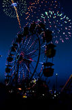 Ferris Wheel. Fireworks and a ferris wheel or big wheel at a fair or carnival Royalty Free Stock Photos