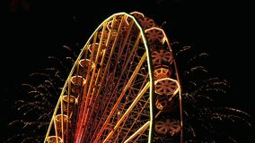 Ferris Wheel And Fireworks stock footage