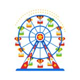 A ferris wheel in a flat style. An entertaining attraction Royalty Free Stock Images