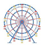 Ferris wheel in a flat style on an isolated background.  Royalty Free Stock Image