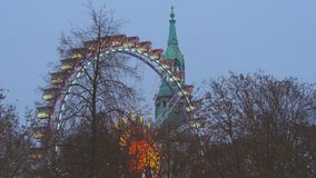 Ferris Wheel In Front Of Marienkirche a Berlino video d archivio