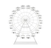 Ferris wheel  front view isolated. 3d rendering.  Royalty Free Stock Images