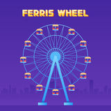Ferris Wheel fun park in city background vector illustration.  Stock Image