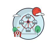 Ferris Wheel, Fun Park Flat Design. Vector Illustration Stock Photography