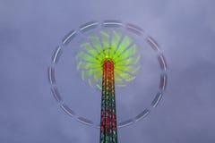 Danger carousel - big wheel in motion at night Royalty Free Stock Image