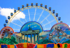 Funfair volksfest Nuremberg. Ferris wheel blue sky, funfair Nuremberg, Bavaria, Germany royalty free stock photo