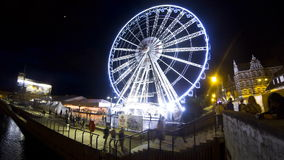 Ferris wheel in Gdansk at night (Time Lapse) stock footage