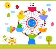 Ferris wheel with happy animals. Illustration of ferris wheel with happy animals Stock Images