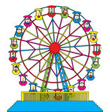 Ferris wheel with happy children. Vector illustration of ferris wheel with happy children Stock Photography