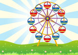 A ferris wheel at the hilltop. Illustration of a ferris wheel at the hilltop Stock Image