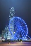 Ferris Wheel. In Hong Kong City at night stock photos