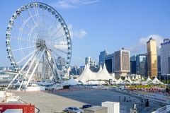 Ferris wheel in Hong Kong royalty free stock photography