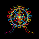 Ferris wheel icon. In colors over black Royalty Free Stock Photography