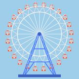 Ferris wheel icon. Attraction. Flat design,  illustration Royalty Free Stock Photography