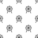 Ferris wheel icon in black style isolated on white background. Building pattern stock vector illustration. Royalty Free Stock Photos
