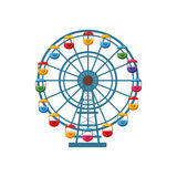 Ferris wheel icon, cartoon style. Ferris wheel icon in cartoon style isolated on white background. Attraction symbol vector illustration Stock Photos
