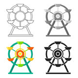 Ferris wheel icon in cartoon style isolated on white background. Play garden symbol stock vector illustration. Ferris wheel icon in cartoon style isolated on Stock Image
