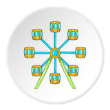 Ferris wheel icon, cartoon style. Ferris wheel icon in cartoon style isolated on white circle background. Attraction symbol vector illustration Stock Photos