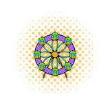 Ferris wheel icon, comics style. Ferris wheel icon in comics style  on white background Royalty Free Stock Photos