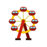 Ferris wheel icon, flat style Royalty Free Stock Images