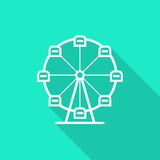 Ferris wheel icon with long shadow Stock Photography