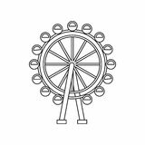 Ferris wheel icon, outline style Stock Photos