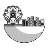 Ferris wheel icon. Over whtie background.  illustration Stock Image